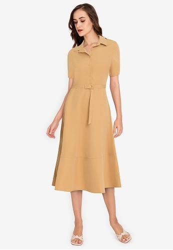 ZALORA WORK brown Pleated Midi Shirt Dress 65D14AAAB0FF41GS_1