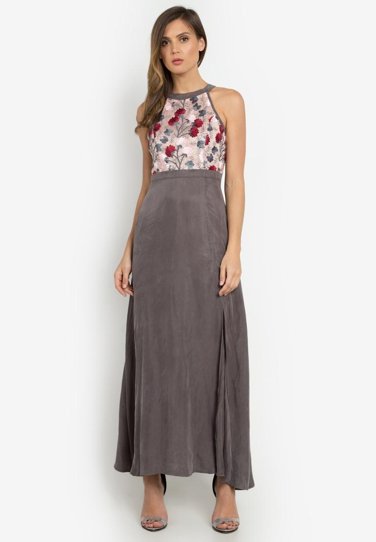 NOBASIC Floral Leia Dress Maxi Grey 8HxfpqOw