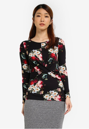 Dorothy Perkins black Floral Crossover Top DO816AA0SJ5NMY_1