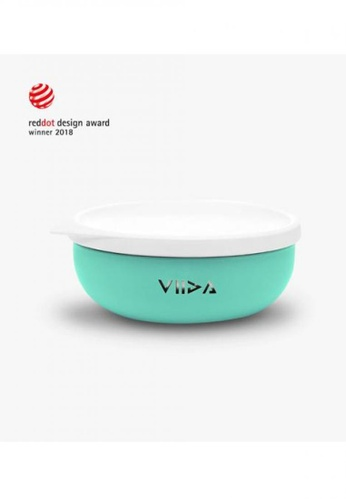 Viida [VIIDA] The Soufflé Kids Antibacterial Stainless Steel Bowl with Lid 430ml/14.5 oz , Turquoise Green - Eco-Friendly - Safe - FDA Certified - SGS Tested 1D21AHLEFD944BGS_1