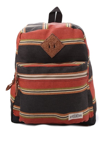 Courier black and orange Striped Backpack CO826AC97JREPH_1