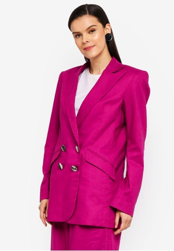 AfiqM pink Double Breasted Jacket CF57AAA9C4D395GS_1
