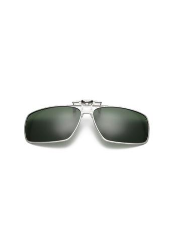 A FRENZ green Full Rim Polarized UV400 Flip-Up Large Clip On Sunglasses 0E98EGL5A572ADGS_1