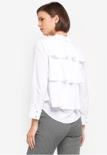 ZALORA white Layered Stripe Shirt 9E0E0AAB5458F1GS_1