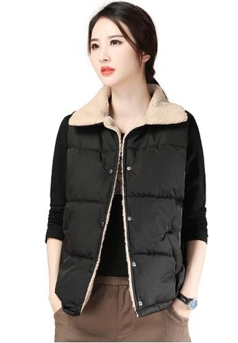A-IN GIRLS black Simple Faux Lamb Wool Vest Jacket 10196AA3396E3DGS_1