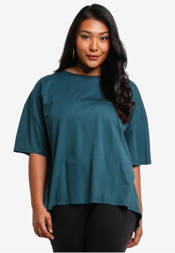 Ex'otico green Plus Size Boat Neck Top 03C41AA374A90FGS_1