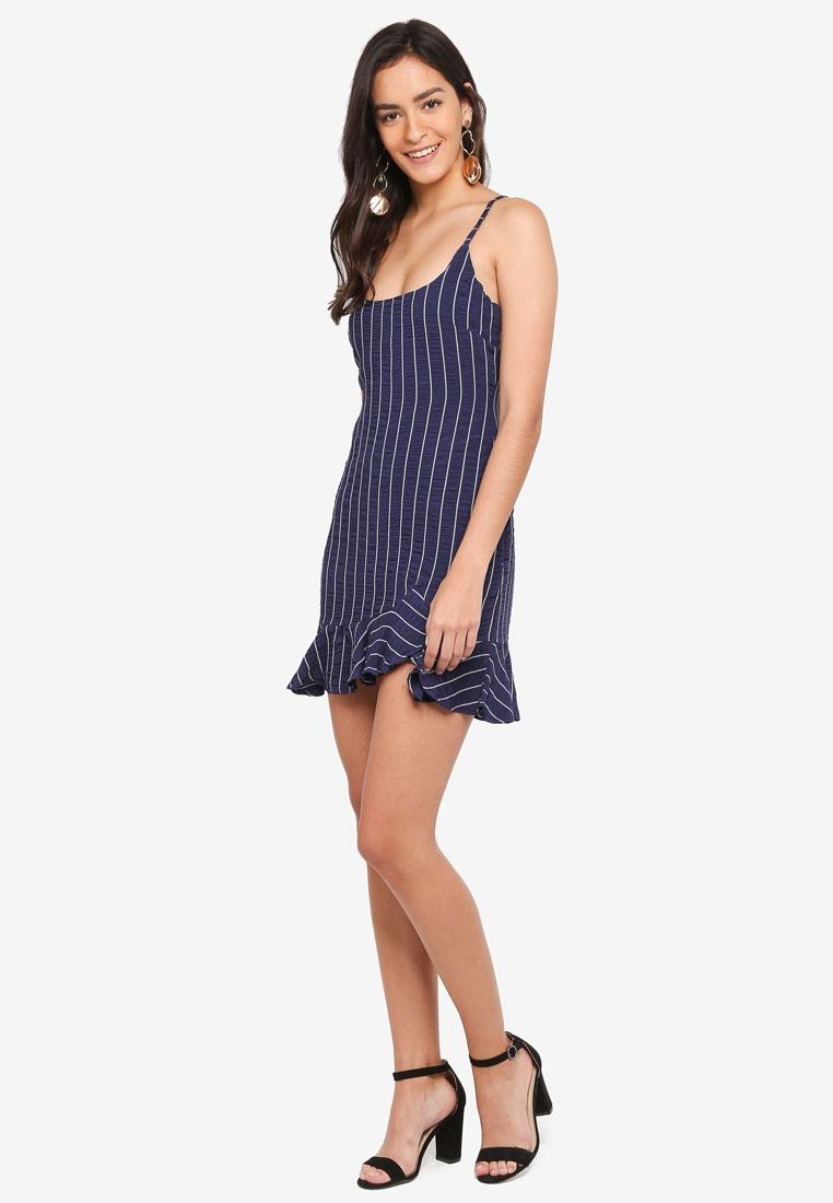 Stripe Hem Navy Mini Ruffle INDIKAH Dress wT5q1C6