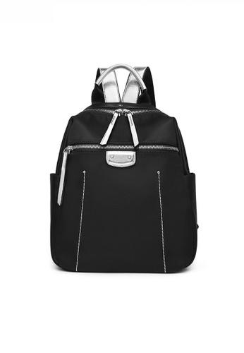 Twenty Eight Shoes black Chic Oxford Nylon Patch Silver Faux Leather Backpack JW YU-20210402 C1E8FACBE1E169GS_1