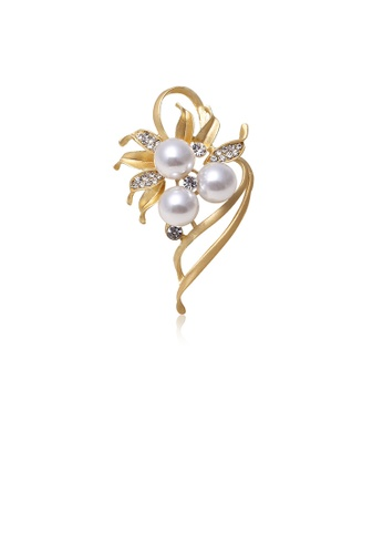 Glamorousky white Fashion and Elegant Plated Gold Flower Imitation Pearl Brooch with Cubic Zirconia 3B1B2AC474D125GS_1