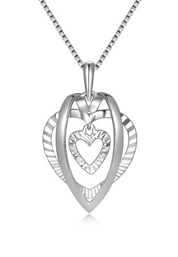 MaBelle silver 14K/585 White Color Gold Gold Heart Pendant With Silver chain E2A23ACF984E85GS_1