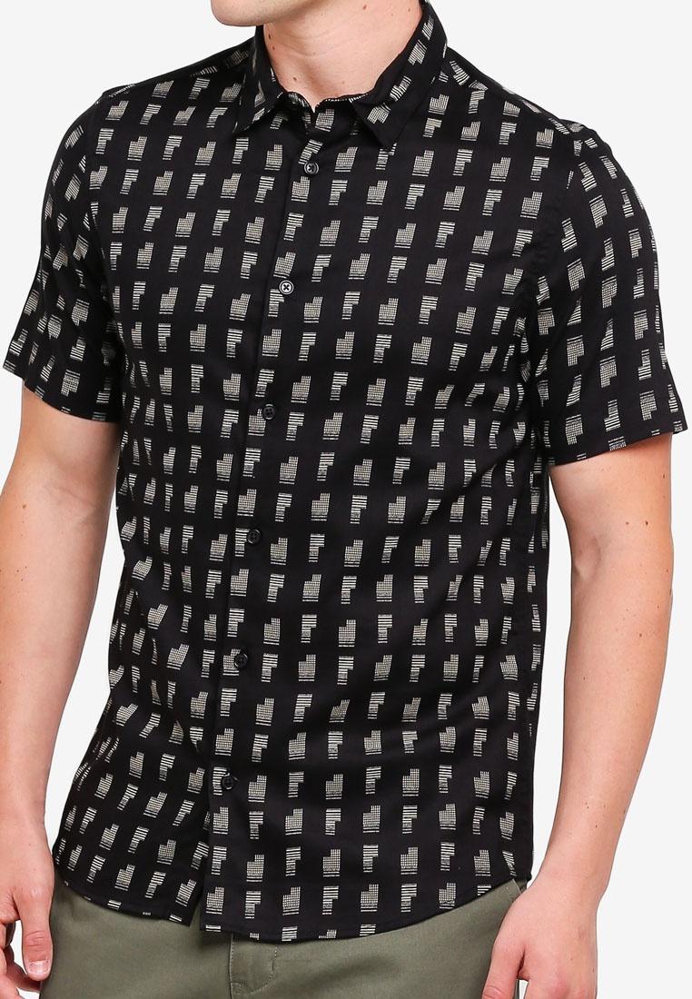 London Print Black Burton Menswear Short Tetra Sleeve Black Shirt 5vwq01n8