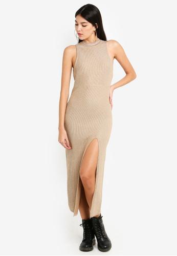 TOPSHOP brown Ottoman Metallic Thread Dress 69CB7AA9BE6EECGS_1