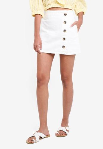 TOPSHOP white Ctj: Horn Button A-Line Skirt BC33CAABC30D6CGS_1