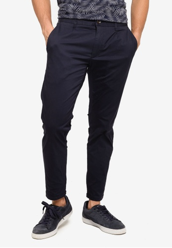 SPARROW GREEN navy Fred Single Pleat Slim Pants 6B6D2AA4D0ADBCGS_1