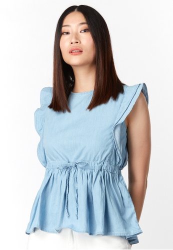 What To Wear Adjustable Drawstring Soft Denim Top in Light Blue F1DC5AAE8268B3GS_1