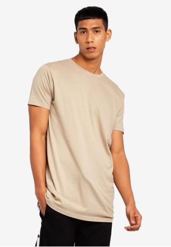 Brave Soul brown Longline Crew Neck T-Shirt 82378AAF7986C7GS_1
