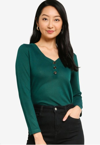 ZALORA BASICS green Button Down Knitted Top BFB8CAA6DCEDA6GS_1