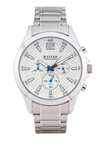 Titan 9323SM07 多錶盤金屬zalora 鞋評價錶, 錶類, 紳士錶