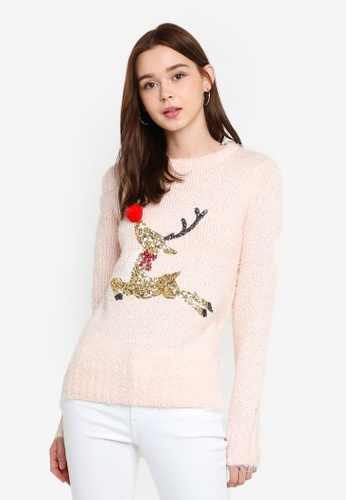 Brave Soul pink Christmas Sequin Flying Deer Pompom Sweater 23DEFAA44128BEGS_1