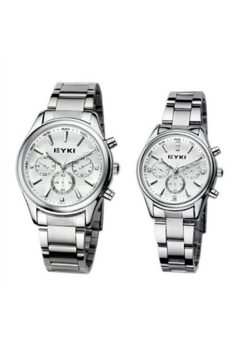 Eyki black and brown Eyki EET8581 Steel Couple Watch One pair (Silver White) EY078AC88RRRMY_1