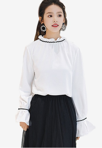Shopsfashion white Illusion Collar Full Sleeve Blouse 0DEB4AA8CBC42EGS_1