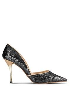 【ZALORA】 Occasion 閃石尖頭側鏤空滾邊高跟鞋