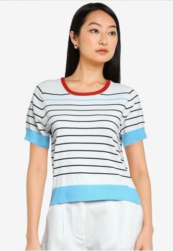 ZALORA BASICS multi Stripes Knit Top F0DD3AA9185466GS_1