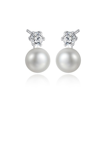 Glamorousky white 925 Sterling Silver Simple Round White Freshwater Pearl Earrings with Cubic Zirconia 7B8C1AC28FBF2EGS_1