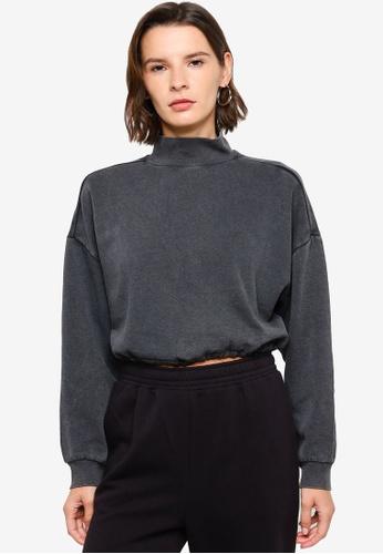 H&M black Drawstring Sweatshirt ACEF8AA12B23AEGS_1