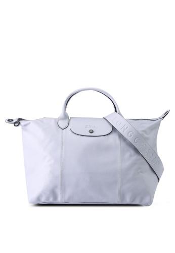 Longchamp grey Le Pliage Cuir Top Handle Bag L (nt) 7134FAC7BB162BGS_1