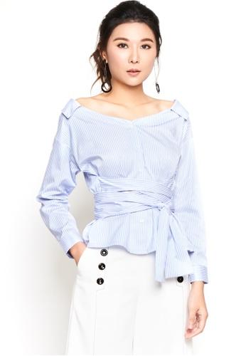 Nichii blue Striped Wide Neck Collar Shirt B74A1AA7056D9FGS_1