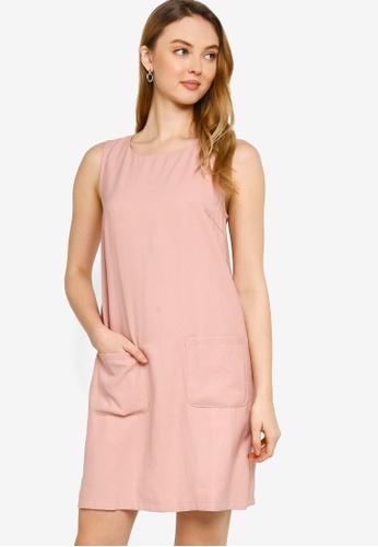 ZALORA WORK pink Textured Shift Dress 59E88AA39E63DCGS_1