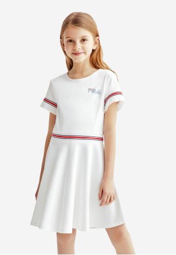 FILA white FILA KIDS Rhinestone FILA Logo Color Blocks Dress 8-13yrs 4E18AKABE79721GS_1