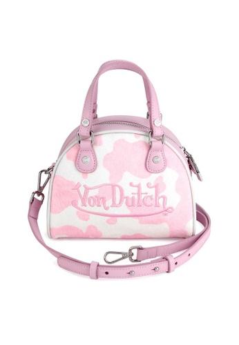 Von Dutch white and pink Von Dutch Pink & White Cow Print Pony Hair Leather Small Bowling Bag A16FDAC83F7D7CGS_1