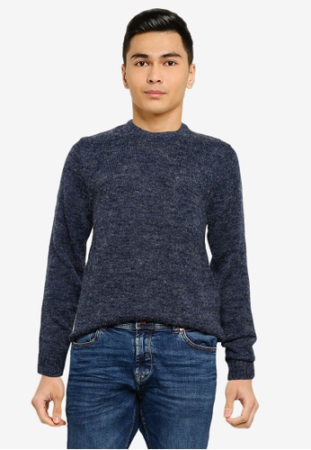 !Solid navy Marco Crew Neck Sweater 63337AAB37322DGS_1