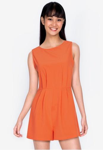 ZALORA BASICS 橘色 後綁帶無袖連身短褲 6FAF4AA6BB5B49GS_1