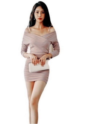 Crystal Korea Fashion pink Korean-made new slim dating party dress 612B6AA0680F2EGS_1
