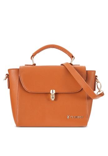 PLAYBOY BUNNY brown Playboy Bunny Handbag PL604AC69PGOMY_1