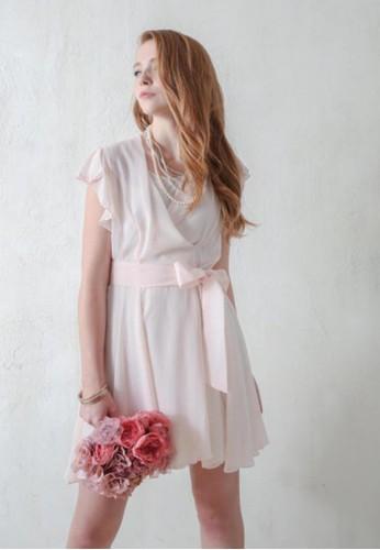 OL雪紡紗蝴esprit outlet 桃園蝶結腰帶洋裝, 服飾, 短洋裝