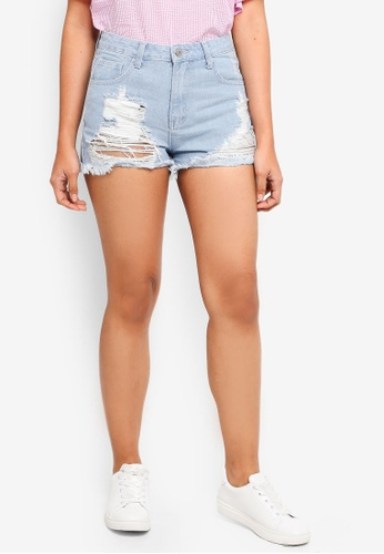 Something Borrowed blue Destroyed Denim Shorts C406EAA16895A3GS_1