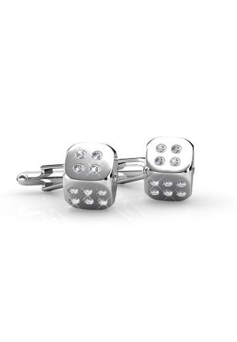 Her Jewellery silver Dice Cufflink - Crystals from Swarovski® HE210AC45BRISG_1