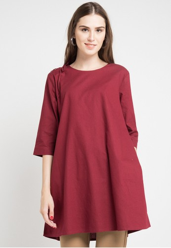 ELLE red Tunic With Rope Binding In Shoulder 5B3B2AAA246F86GS_1
