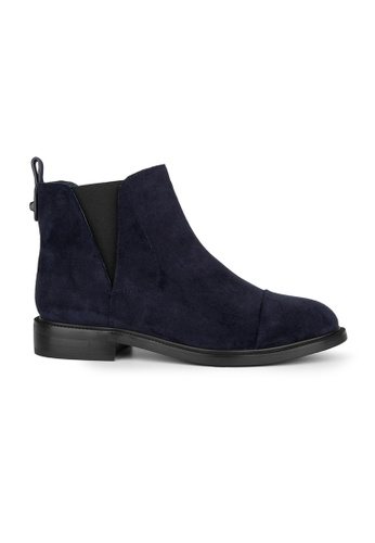 MAUD FRIZON navy Imitation Suede Riding Bootie With V Cut Elastic Detail 89F4DSH9984126GS_1
