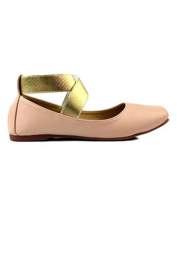 SHINE pink SHINE Cross Ankle Strap Round Toe Flats E4EC6SH12F6E70GS_1
