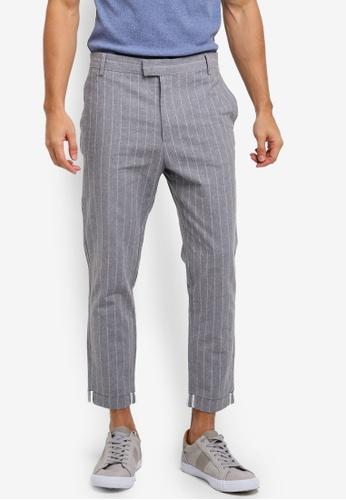 ZALORA grey Cropped Pinstriped Trousers 90B95AA5B3A3B1GS_1