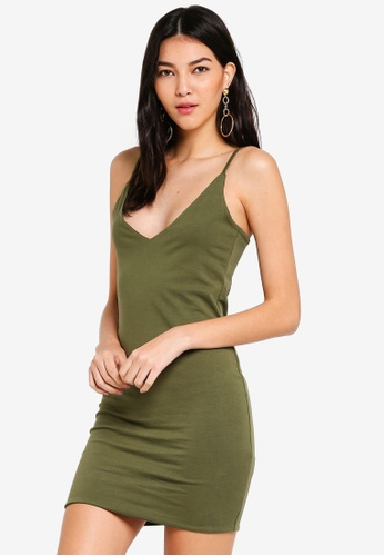 Supre brown Deep V Double Layer Mini Dress 0B7B1AA639BC76GS_1