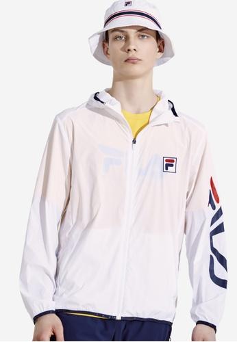FILA white F-box Logo Hooded Jacket 1540EAA847A4DEGS_1