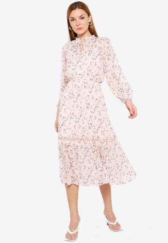 Miss Selfridge pink Pink Dobby Midi Dress 6DCA6AAC879422GS_1