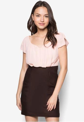 Carment 雙色時尚連身裙, 服esprit地址飾, 洋裝