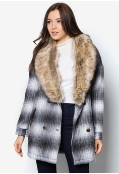 Wool Check Jacket With Fur